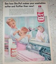 1959 old advertising - Staley Sta-Puf diaper baby laundry PRINT AD Advert Page