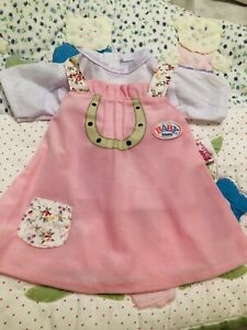 New Baby Born Pinafore Dress And Top