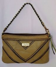 FOSSIL FIFTY FOUR Olive Green Leather HANDBAG Clutch Braided Strap Small Nice!