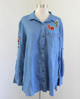 NWT Jodifl Denim Chambray Patch Tunic Blouse Shirt Size M Cactus Floral Love