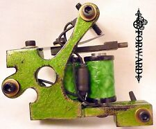 Custom Green and Black Lightweight Liner Tattoo Machine with Dyed Green Coils