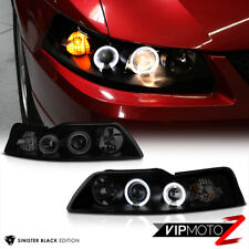 """SINISTER BLACK"" 1999-2004 Ford Mustang Halo Angel Eye Projector Headlights PAIR"