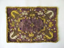 19C. ANTIQUE HAND EMBROIDERED VELVET WALL RUG w/GOLD THREAD DECORATION