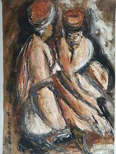 Aceite De África/pintura de acrílico arte popular original firmado drumers Marrón