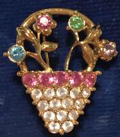 Vintage Monet Pastel Rhinestone Brooch Pin - Gold Tone - Prong Set