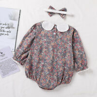 Baby Long Sleeve Kids Daily Floral Printed Tops+Headband Girls Romper Outfits