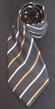 PAUL SMITH SILK TIE IN BLACK BEIGE & LIGHT BROWN WITH DIAGONAL STRIPES NM-COND