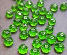 20 perles 8x6mm à facettes en verre vert clair //9