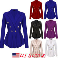 Women Business Blazer Suit Slim Jacket Casual Lapel Neck Coat Solid Outwear Tops