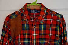 Vtg Polo Ralph Lauren Beautiful Hunting / Shooting Red Plaid Shirt Men's Medium