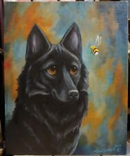 OriginAl Oil Painting~Schipperke~Dog~B umblebee~Hand Painted~Whimsical~Art