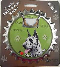 Great Dane Harlequin dog coaster magnet bottle opener Bottle Ninjas magnetic