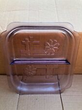 Vintage Purple Depression Glass Divided Square Plate, Dish With Etched Design