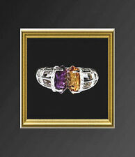 18K WHITE GOLD  DIAMOND / AMETHYST / CITRINE  RING  by the famed PANELLI, ITALY