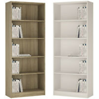 Crescita Tall Wide Bookcase in Oak or Pearl White Living Display Cabinet Bed