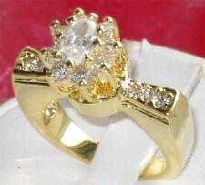 Cluster Yellow Gold Plated Oval Stone Costume Rings