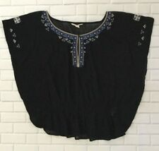 American Eagle Women's SZ XS Sheer Black Embroid Peasant Top
