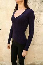 Ralph Lauren Womens Casuals V Neck Wool Cable Knitted Purple Jumper S Small NICE
