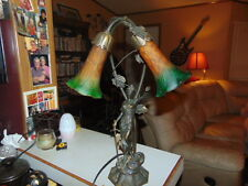 Vintage Bronze Lady Justice and glass tulip / Lily Lamp Light WORKS