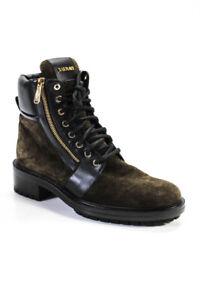 Balmain Womens Suede Ranger Combat Boots Dark Green Black Size 41 11