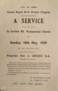 Apprentice Boys Derry Orange Order Ulster Loyalist Grand Royal Arch Flyer 1959