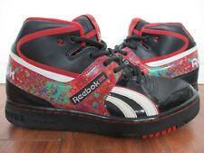 Reebok Classic High Top Black & Red w/ Paint Splatter Look US sz 9