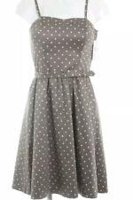 H&M Trägerkleid grau braun-creme Punkte, Rockabilly, Hochzeit,Damen Gr. DE 36