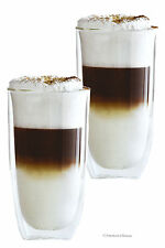Set 2 Double Wall Blown 17oz Borosilicate Beer Coffee Hot & Cold Drinks Glasses