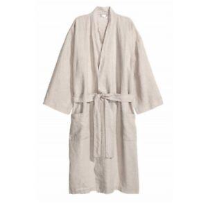 Women Men 100% Linen Yukata Bathrobe Japanese Flax Robe Gown Nightwear Casual