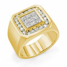 1.30 Ct Men's Princess Round Cut Natural Diamond G VS2 Ring 14k Gold Yellow
