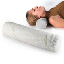 Memory Foam Neck Roll Pillow Bolster – Neck Support Pillows & Removable Cover