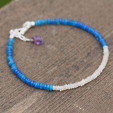 Natural Blue Opal and Welo Opal Bracelet Solid Sterling Silver 14th Anniversary