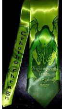L@@K! Cthulhu Necktie Green Satin - HP Lovecraft Cthulhu fhtagn