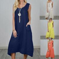Women Plain Italian Lagenlook Quirky Crew Neck Pocket Cotton Linen Long Dress UK
