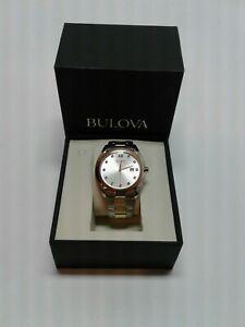 BULOVA Classic Quartz Diamond Two-Tone Silver Dial 42.5mm Men's Watch 98D125