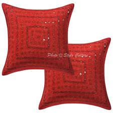 Home Decorative Cotton Pillow Case Cover Indian Mirror Embroidered Cushion