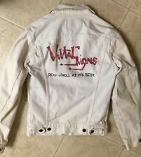Custom Airbrushed Vital Signs White Denim Jacket Of The Band, Medium, Vintage!