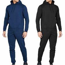 Tuta Uomo Cotone Felpato Pantaloni e Maglia con Cappuccio Blu Nero Fitness Sport