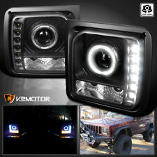 1997-2001 Jeep Cherokee Black Projector Headlights Lamps w/SMD LED