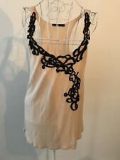 DOTTI Sz XS Womens Beige & Black Racer Back Loose Fit Singlet Tank Top Stretchy