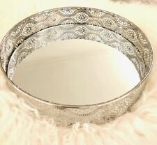 Mirror Tray Round Shape Serving Dressing Glass Metal Decorative Silver 25cm x5cm