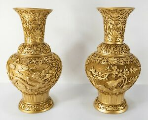 Vintage Contemporary Chinoiserie Chinese Gilt Gold Cinnabar Lacquer Resin Vases
