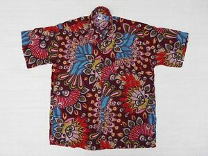 Hawaiihemd Hawaii Hawai Hemd SALE !! bordeaux Pfauenfedern rot blau