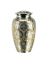 """Elegante Beautifully Crafted """"Silver Gold"""" Solid Brass Adult Urn with Elegant Ve"""