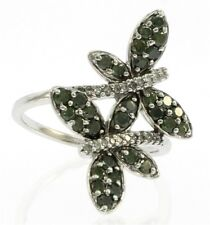 Unique Genuine Green and White Diamond Butterfly Ring in 10 kt White Gold.
