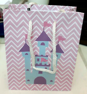 5x Pink Princess Castle Gift Bags (15x12cm), Birthday Gift Bags, Paper Bags