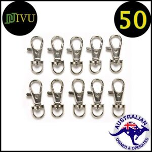 50 Pcs 37X16 Silver Tone Trigger Lobster Claw Swivel Clasp Hook for Key Rings