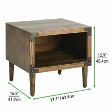 mDesign Distressed Short Wood Side Table with Black Metal Accents