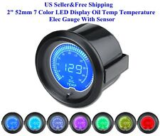 "US 2"" 52mm 7 Color LED Display Oil Temp Temperature Elec Gauge With Sensor New"