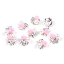 10 Stueck 3D Nagel Kunst mit Strass und rosa kuenstlichen Perle Scheiben Glanz D
